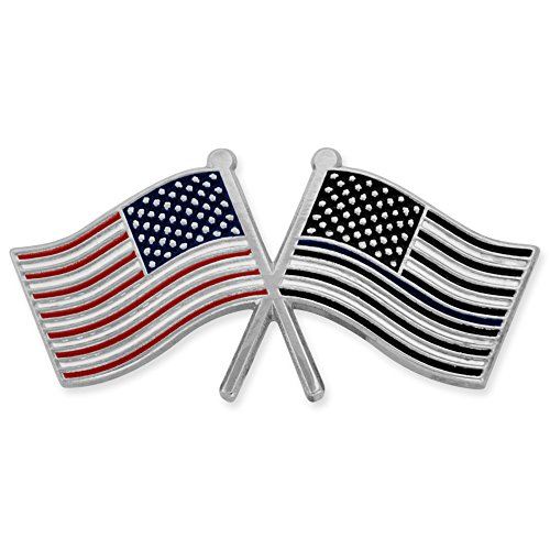PinMart's USA and Police Crossed Flags Thin Blue Line American Flag Lapel Pin Blue Usa Pin