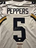 Autographed/Signed Jabrill Peppers Michigan Wolverines White Football Jersey JSA COA