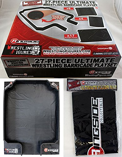 Wrestling PACKAGE DEAL 27-Piece Ultimate Barricade Playset & Floor Mat - Ringside Exclusive WWE Toy Action Figure Accessories