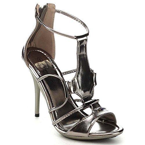 Nature Breeze Focus-02 Women's Peep Toe T-Strap Back Zip Stietto Heel Dress  Sandals, PEWTER,7 - Pewter High Heels: Amazon.com