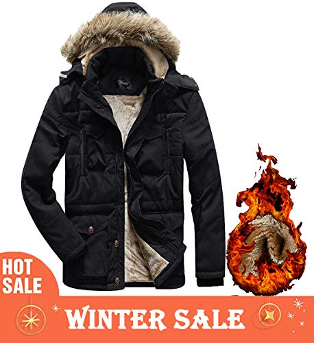 Korago Mens Military Winter Jacket Fleece Coat with Detachable Fur Hood Black 337 Large