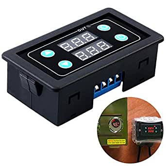 ICStation Timer Relay DC 12V 10A Programmable Digital Time Cycle Delay  Switch Module AC 85-265V 220V 110V ON-Off Control 0-999ms Second Min Hour  LED