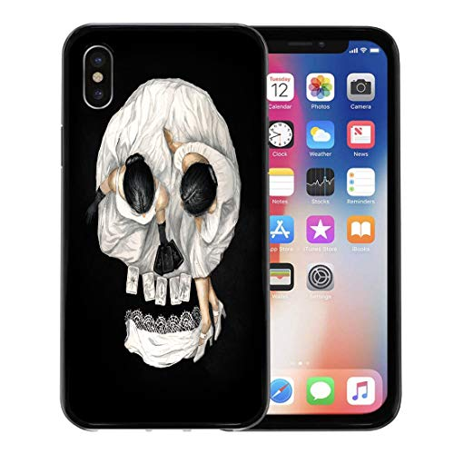 Semtomn Phone Case for Apple iPhone Xs case,Watercolor Gypsy Tarot Reader Girl Optical Skull Portrait Scary Abstract for iPhone X Case,Rubber Border Protective -