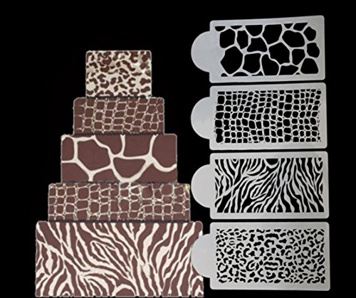 4 PC Animal and Jungle Print Decorating Stencil Set (Zebra, Cheetah, Leopard, Giraffe) - Stencils from Bakell - Love This Set!
