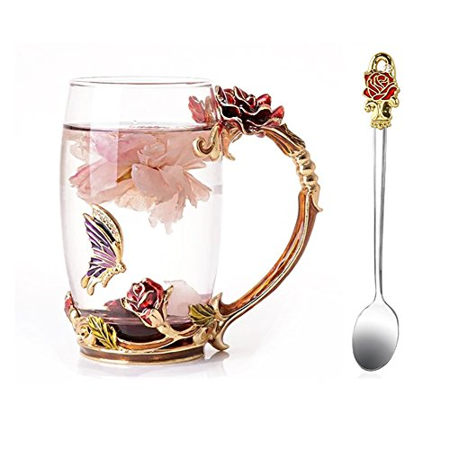 NBWUYUE Mother's Day Gifts For Mom Tea Cup Coffee Mug Cups Clear Glass With Spoon Set Unique Rose Flower Enamel Design Valentine's Day Birthday Decoration Wedding Gift (13 oz Red -