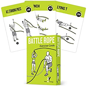 Battle Rope Exercise Cards, Set of 62 – with Guided Strength Training Workouts for Home or Gym :: Illustrated Fitness…