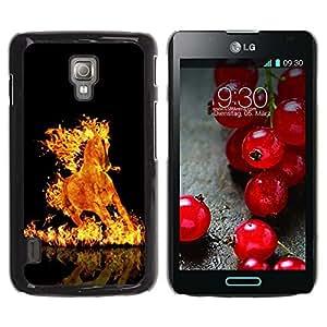 TopCaseStore / la caja del caucho duro de la cubierta de protección de la piel - Fire Flames Horse Black Burning Hell Mustang - LG Optimus L7 II P710 / L7X P714
