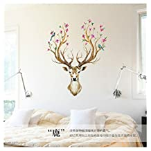 Revesun Free Shipping Wall Stickers Deer Head , Wall Decal Deer Head Decor for Your Lodge, Cabin, Modern Home