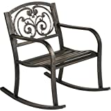 Cast Iron Powder Coated Outdoor Patio Rocking Chair: Ivory Design Backrest