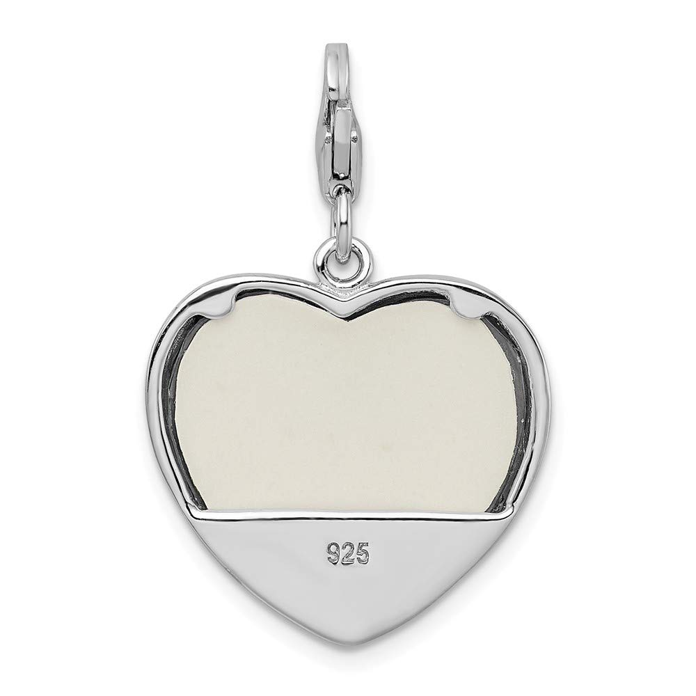 925 Sterling Silver Rhodium-plated 2-D Blue Enameled Mom Photo with Lobster Clasp Charm