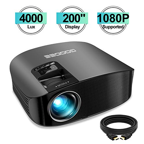 "Projector, GooDee HD Video Projector 4000L Outdoor Movie Projector, 200"" Home Theater Projector Support 1080P, Compatible with Fire TV Stick, PS4, HDMI, VGA, AV and USB"