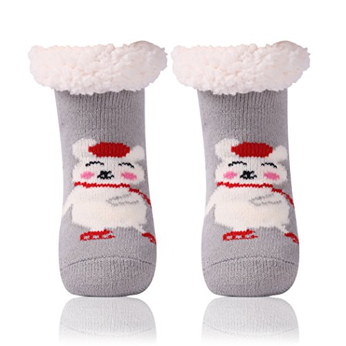 Girls Slipper Socks,Soft Warm Comfy Thick Sleeping Socks Christmas Gifts Non-Skid Floor Socks for Big Kids Home Slipper 1 Pair Light Grey ()