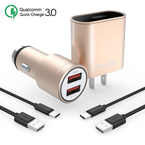 Jelly Comb Quick Charge 3.0 Charger Kit Compatible for Samsung Galaxy S9 / Note 8 / S8, Dual USB Car Charger + Wall Charger + 2 Pack USB Type C Cables Compatible for Galaxy S8 Plus, S9 Plus (Gold)