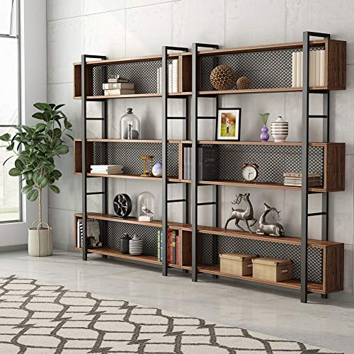 Tribesigns 5-Shelf Bookshelf with Metal Wire, Vintage Industrial Bookcase Display Shelf Storage Organizer with Metal Frame for Home Office, 47.2'' L x 9.4'' D x 71'' H (Retro Brown) by Tribesigns (Image #3)