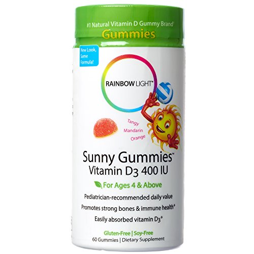 Rainbow Light - Sunny Gummies Vitamin D3 400 IU, Support for Healthy Bones, Muscles, and Immunity in a Family-Friendly Chewable with Vitamin D3, Soy-Free, Gluten-Free, Tangy Tangerine, 60 Gummy Drops by Rainbow Light