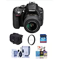 Nikon D5300 24.1MP DX-Format DSLR Camera w/AF-S DX NIKKOR 18-55mm f/3.5-5.6G VR II Lens, Black - Bundle w/Camera Bag, 16GB SDHC Card, Cleaning Kit, SD Card Reader, 52mm UV Filter, Software Package