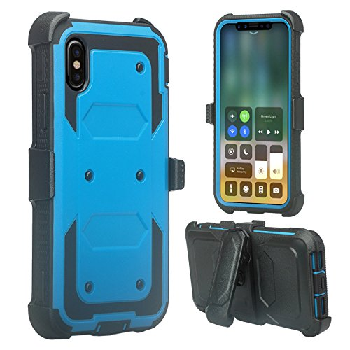 Red Vs Blue Wallpaper (Apple iPhone X Case,Customerfirst, Shockproof Rugged Hybrid Armor Case Cover with Belt Clip Holster & Built-in Screen Protector for Apple iPhone X (Blue Black))