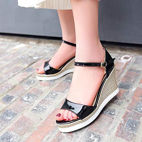 ouvert de femmes chaussures compensée travail pour à de ouverts à la semelle bride à bout talons danse Sandales beige cheville nwxqaBR8Yf