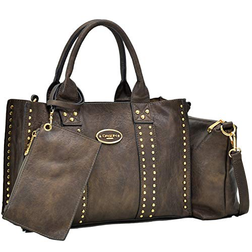 Dasein Designer Tote Purse Satchel Handbag Faux Leather Shoulder Bag Top Handle Bag (0620w 3pcs- Bronze)