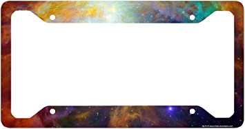 Universe License Plate Holder Outer Space Nebula Cute License Plate Frame-30-712 Stars Car Tag Frame Airstrike Space Galaxy License Plate Frame