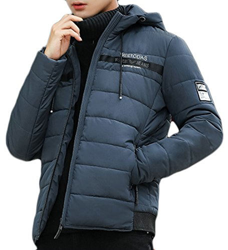 Jackets Down Men's Sleeve Long Puffer Blue Gocgt Hoodies 7qYwPpxqa