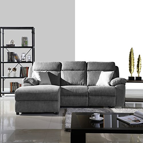 Classic Traditional Small Space Reclining Sectional Sofa, L-Shape Recliner Couch (Grey)