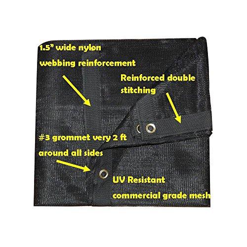 FJYW Premium 70% Sun Shade Cloth, 10 x 30'/7 oz, Black (30' Black Mesh)