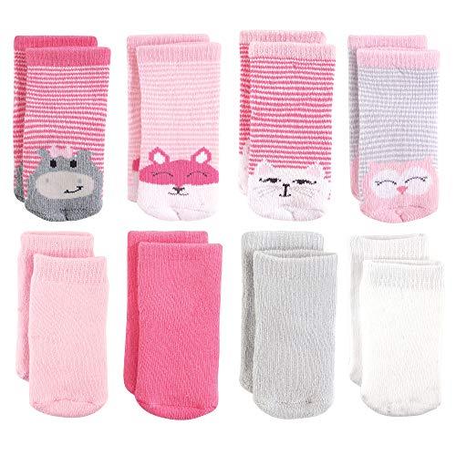Luvable Friends Baby Basic Socks, Hippo Cat 8Pk, 6-12 Months