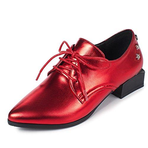 zapatos de moda de la primavera/Zapatos de tacón grueso/Oumeiyinglun aire del remache puntiagudos zapatos A
