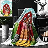 Unique Custom Double Sides Print Flannel Blankets Cartoon Decor Collection Happy Farm Animals Living In Barnhouse Chicken Pig Horse Dome Super Soft Blanketry for Bed Couch, Twin Size 60 x 80 Inches