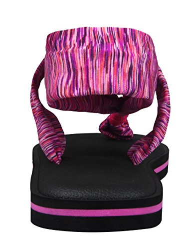Santiro Sandalia de Mujer Con Cinta de Peso Ligero Clip de Dedo de Pie Talon Descubieto Suela Mante de Yoga Rosa roja