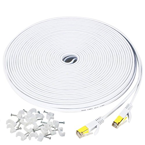 50 ft Ethernet Cable Cat7,Flat Gigabit Network Cable for Computer/Router with Clip&RJ45 Connector,Higher Speed Than Cat6/Cat5 Shielded Internet LAN Cord for PS4,Xbox,Adapter,Switch,Modem,PC-White by MATEIN (Image #7)