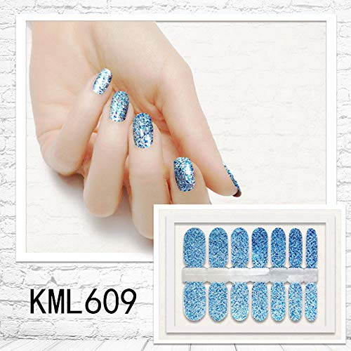 Maserfaliw 14Pcs/Sheet Nail Art Stickers,Glitter Nail Stickers Full Cover Adhesive Decor for Women Girls 9]()