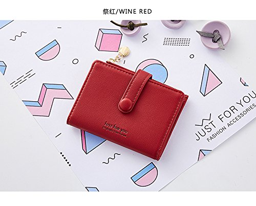 Women Soft Leather Short Wallet Card Holder Change Cash Organized Large Capacity Zipper Buckle Travel Coin Purse with ID Window (Red) by KESONA (Image #1)