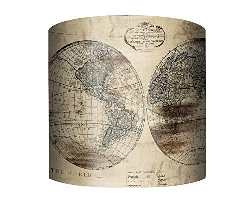 PTM Images 10-0144 World Map 10 Inch Tall x 12 Inch Wide Cylinder Fabric Lamp Shade with Spider Fitter (World Map Lamp Shade)