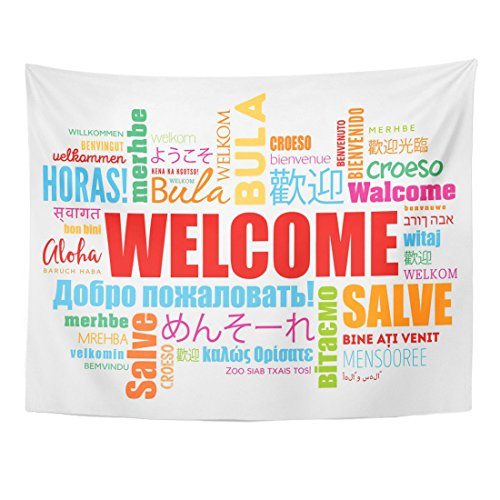 TOMPOP Tapestry World Welcome Word Cloud in Different Languages Conceptual Multilingual Home Decor Wall Hanging for Living Room Bedroom Dorm 60x80 -