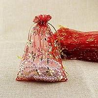 4d61708be Toyvian Bolsas de Gasa Transparentes para Navidad Copo de Nieve Bolsas de  joyería Cordón Bolsa de Regalo Suministros para Fiestas 50 Piezas (Rojo +  Blanco)