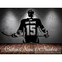 Hockey Decal - Custom Name and jersey numbers - Hockey wall art - Rinö home decor - hockey decor bedroom vinyl sticker