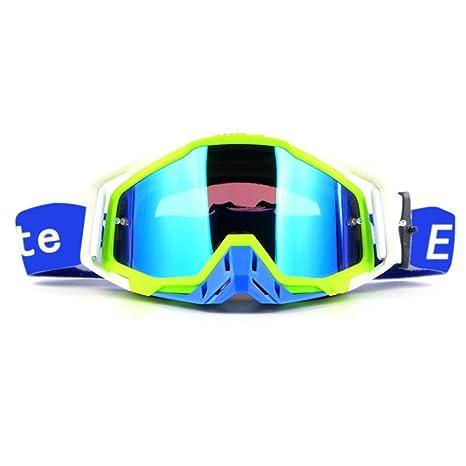 Lunettes de cyclisme UV400 descente course moto lunettes de soleil amovibles protège-nez usure avec casque sports de plein air (Chaux) fBuUvYpUZ