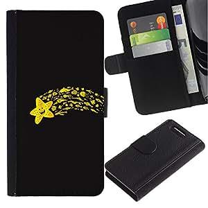ZONECELL ( No Para Xperia Z1 ) Imagen Frontal Negro Cuero Tarjeta Ranura Trasera Funda Carcasa Diseño Tapa Cover Skin Protectora Case Para Sony Xperia Z1 Compact D5503 - divertido estrella voladora
