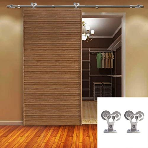 Hahaemall moderna interior acero inoxidable deslizante granero puertas Hardware de madera doble pista rodillo rueda hierro Rail Set Kit (5ft sola puerta Kit): Amazon.es: Bricolaje y herramientas