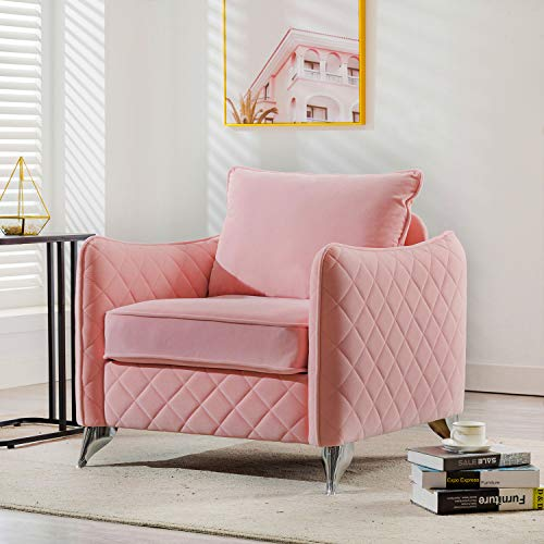 Altrobene Modern Velvet Accent Arm Chair Pink, Living Room Bedroom Armchair with Sliver Metal Legs