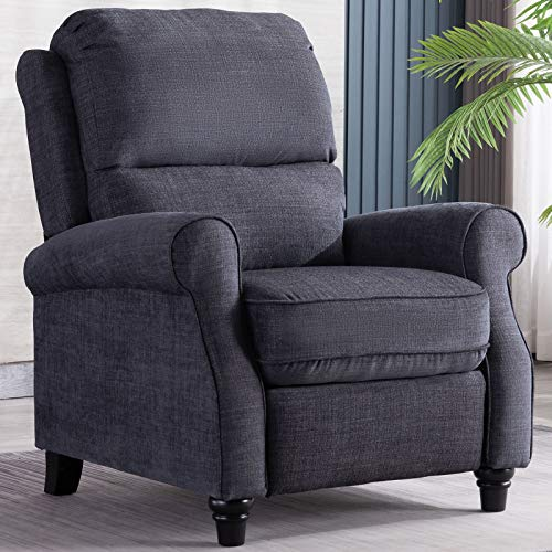 ANJ Push Back Recliner Chair with Roll Arm, Thickness Cushion Home Theater Push Recliner, Gray