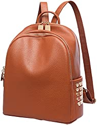 SAERLONG Womens Rivets PU Leather Shoulder Bag Casual Daypack Backpack for Girls