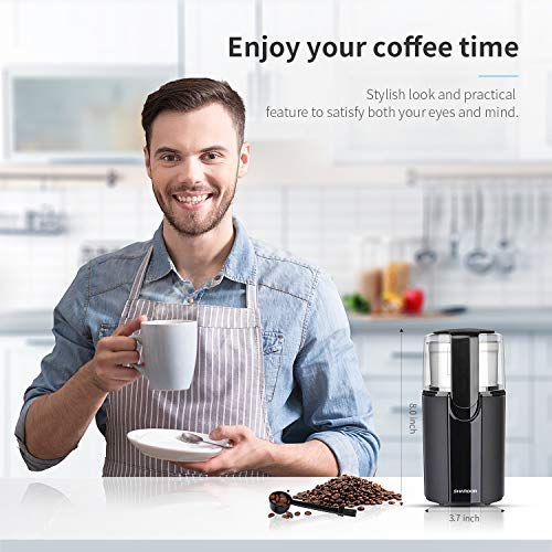 SHARDOR Coffee Grinder Electric, Electric Coffee Blade Grinders with Removable Stainless Steel Bowl, Black