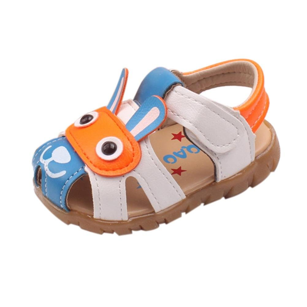 Dacawin Kids Baby Boys Summer Leather Flashing Lights Toddler Sandals Cartoon Animation Shoes