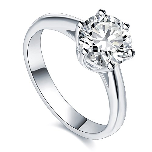 2.0 Ct Moissanite Ring Diameter 8.0mm H-I Colorless Sterling Silver Engagement Rings By Van Rorsi&Mo by Swhitee (Image #2)