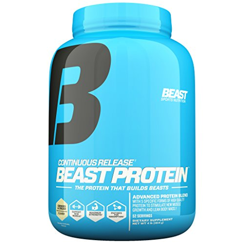 Beast Sports Nutrition Beast Protein 25 Grams of High-Quality Protein with 5 Protein Sources for Lean Muscle including Whey Concentrate and Isolate. Low Fat Low Carbs. 4lbs, 52 Svgs, Cookies & Cream