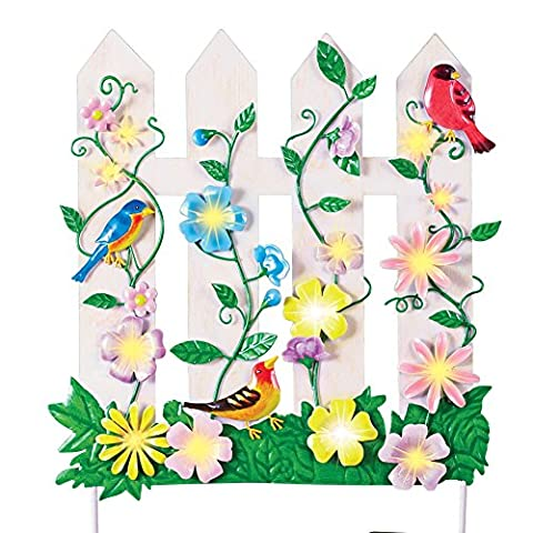 Lighted Birds & Flowers Picket Fence Garden Decor Yard Stake (Patio Pickets)