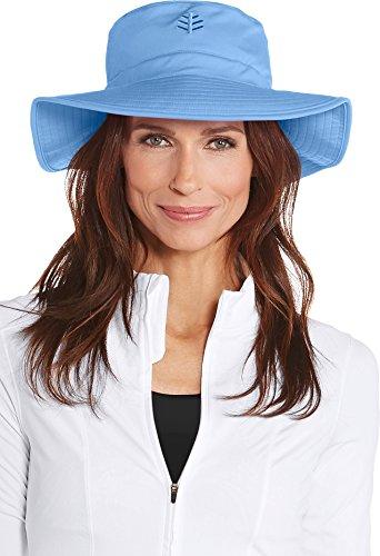 Coolibar UPF 50+ Women's Chlorine Resistant Bucket Hat - Sun Protective (Large/X-Large- Powder Blue)